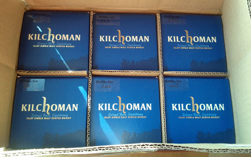Picture of a box of six bottles of Kilchoman Islay single malt whisky