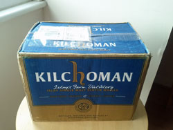 Picture of a cardboard box from Kilchoman distillery
