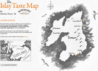 Screenshot of the main section of the Islay Taste Map website