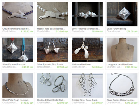 Screenshot of jewellery in an online shop