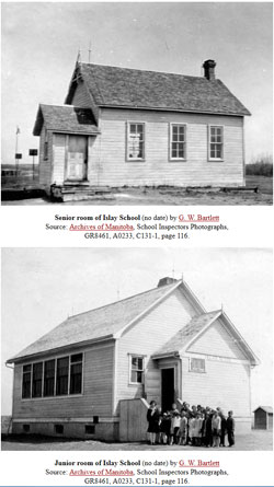 Screenshot of two pictures of the old Islay school in Manitoba, Canada