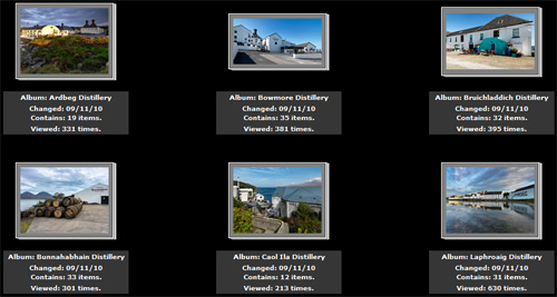 Screenshot of a picture gallery with Islay distillery pictures