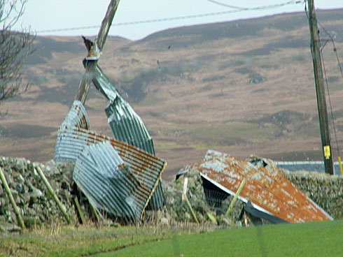 Picture of the remains of a shed roof wrapped around telegraph poles