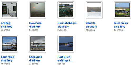Screenshot of a flickr collection of Islay distillery pictures