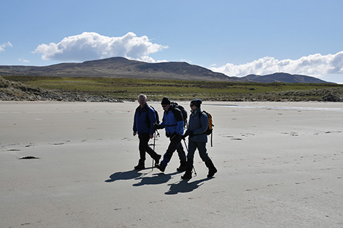 Picture of three people walking on a beach