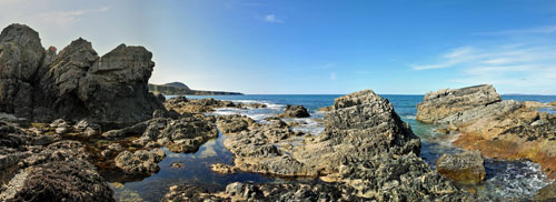 Picture of a panoramic view over a rocky shore