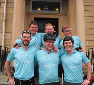 Picture of six charity fundraising cyclists