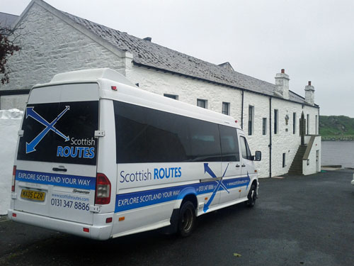 Picture of the Scottish Routes minibus at Laphroaig distillery on Islay