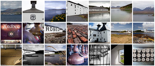 Screenshot of a thumbnail set of Islay pictures