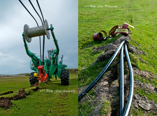 Composite picture of two pictures showing the work of an underground cable laying machine
