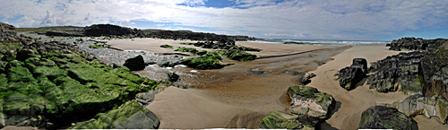 Panoramic picture of a river crossing a beach