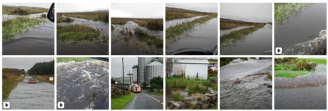 Screenshot of a picture gallery of flooded roads