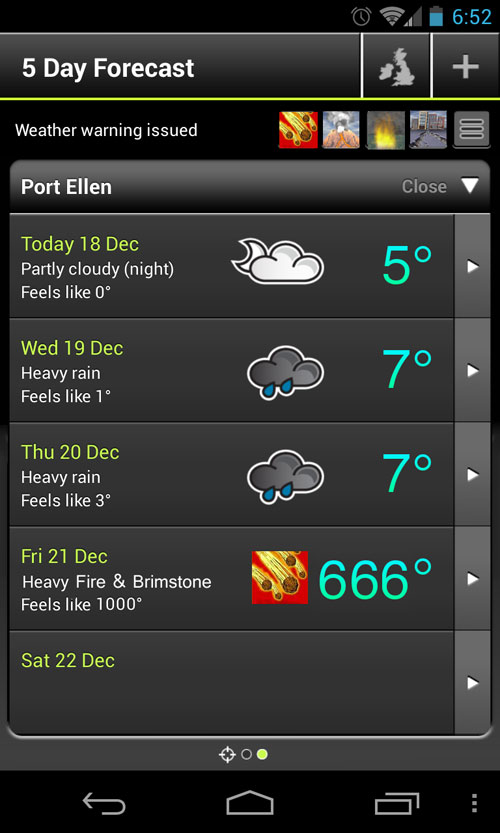 Fake screenshot of a weather forecast predicting the end of the world on 21/Dec/2012