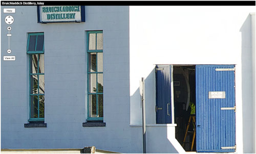 Screenshot of a zoomed in panorama of Bruichladdich distillery