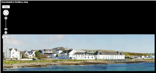 Screenshot of a panorama of Bruichladdich distillery in a panorama viewer
