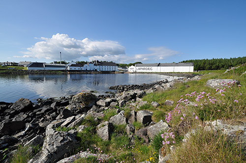 Picture of Laphroaig distillery seen across the bay