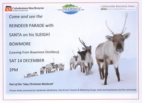 Poster announcing the Reindeer on Islay