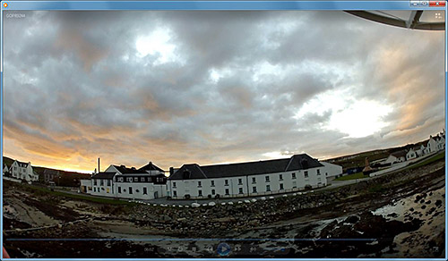 Screenshot from a video showing Bruichladdich distilery filmed from a quadcopter