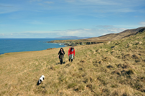 Picture of two walkers and a dog walking along a northern coast