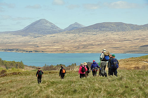 Picture of a group of walkers above a Sound between two islands