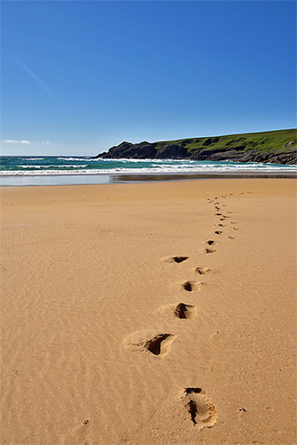 Picture of footsteps in the sand on a beach