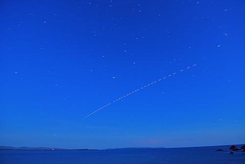 Picture of the ISS passing over a sea loch
